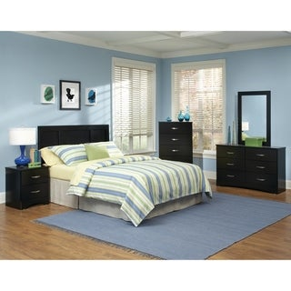 Five Piece Bedroom set with metal Pulls including  Headboard, Five Drawer Chest, Six Drawer Dresser, Mirror, and Night Stand.