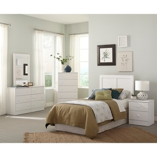 Five Piece White Bedroom set including Twin Headboard, Five Drawer Chest, Six Drawer Dresser, Mirror, and Night Stand.