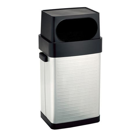 Seville Classics UltraHD 17 Gallon-65 Liter Large Lidded Open Front Fingerprint Resistant Stainless-Steel Trash Can