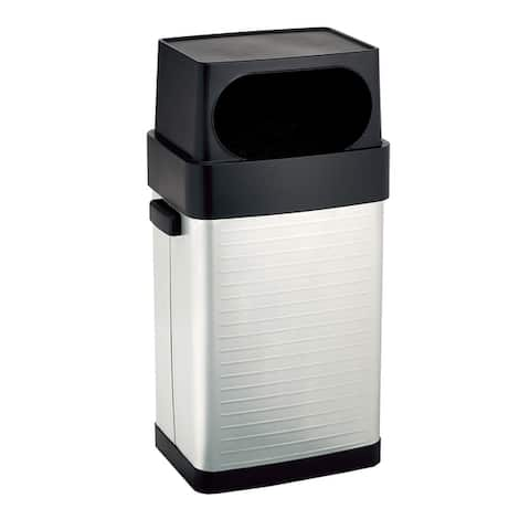 Seville Classics UltraHD 17 Gallon-65 Liter Large Lidded Open Front Fingerprint Resistant Stainless-Steel Trash Can