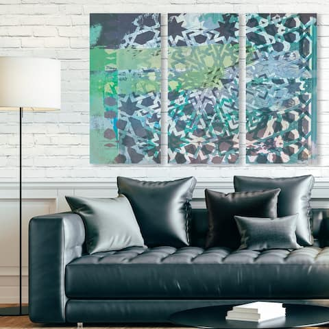 Oliver Gal 'Zade Triptych' Abstract Wall Art Canvas Print Set - Green, Black - 17 x 36 x 3 Panels