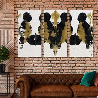 Oliver Gal 'Greatness Triptych' Abstract Wall Art Canvas Print Set - Gold, Black - 17 x 36 x 3 Panels