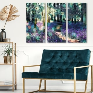 Oliver Gal 'Lavender Morning  triptych' Floral and Botanical Wall Art Canvas Print Set - Green, Purple - 17 x 36 x 3 Panels