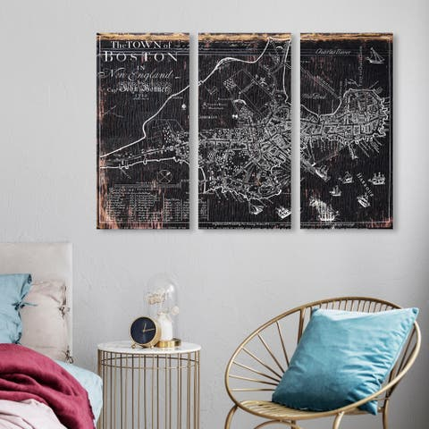 Oliver Gal 'Town of Boston Map 1722 triptych' Maps and Flags Wall Art Canvas Print Set - White, Black - 17 x 36 x 3 Panels