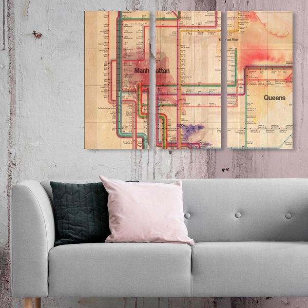 Oliver Gal 'Manhattan Subway Track TRIPTYCH' Maps and Flags Wall Art Canvas Print Set - Brown, Red - 17 x 36 x 3 Panels