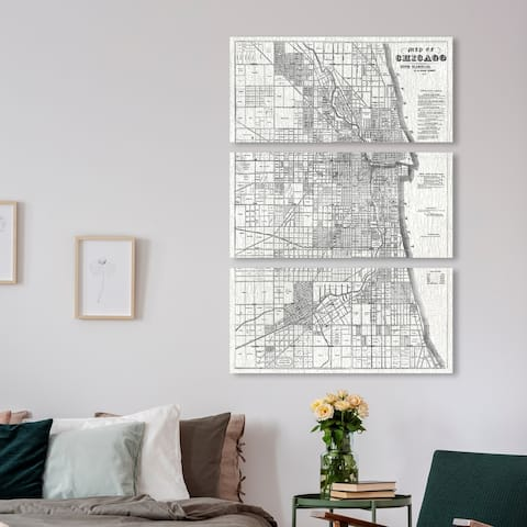 Oliver Gal 'Map of Chicago 1857 Triptych' Maps and Flags Wall Art Canvas Print Set - Black, White - 36 x 17 x 3 Panels