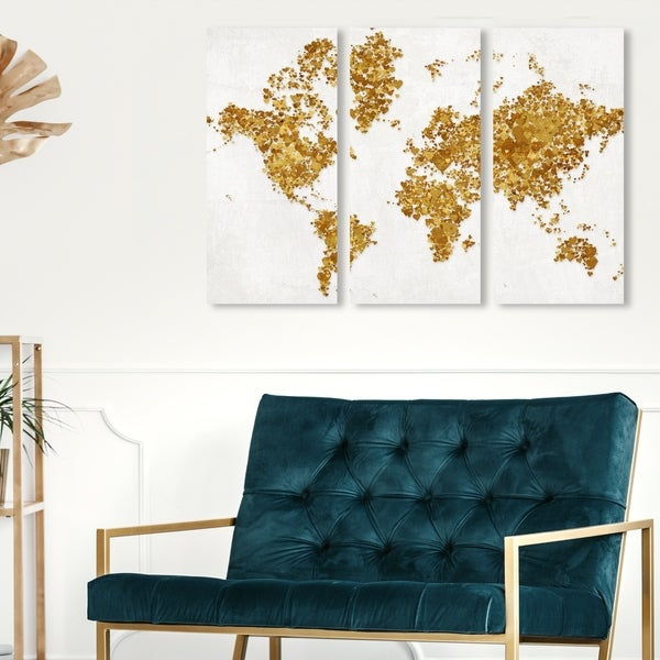 Oliver Gal 'All The Love In The World II Triptych' Maps and Flags Wall Art Canvas Print Set - Gold, White - 17 x 36 x 3 Panels