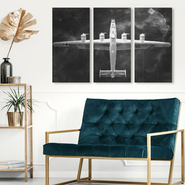 Oliver Gal 'Aircraft Inverted Triptych' Transportation Wall Art Canvas Print Set - Black, White - 17 x 36 x 3 Panels
