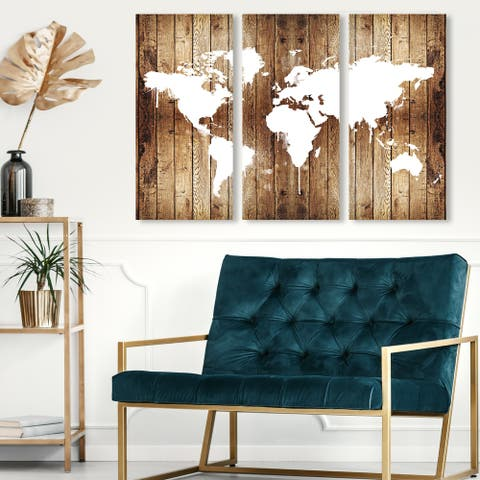 Oliver Gal 'Mapamundi Wood Triptych' Maps and Flags Wall Art Canvas Print Set - Brown, White - 17 x 36 x 3 Panels