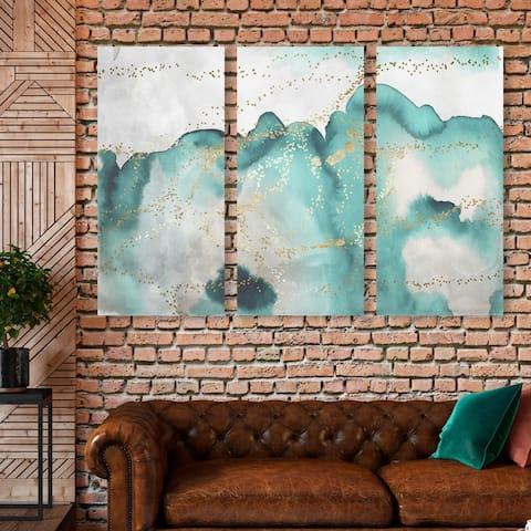 Oliver Gal 'Aqua Lovers Waltz Triptych' Abstract Wall Art Canvas Print Set - Green, Gold - 17 x 36 x 3 Panels