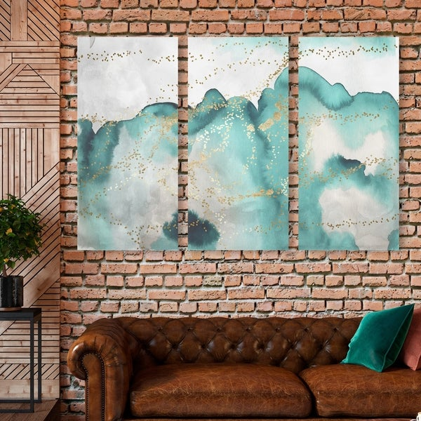Oliver Gal 'Aqua Lovers Waltz Triptych' Abstract Wall Art Canvas Print Set - Green, Gold - 17 x 36 x 3 Panels