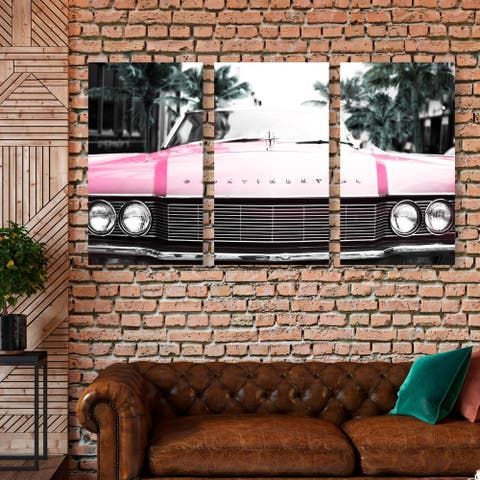 Oliver Gal 'A Classic Colorful Long Triptych' Transportation Wall Art Canvas Print Set - Pink, Green - 17 x 36 x 3 Panels