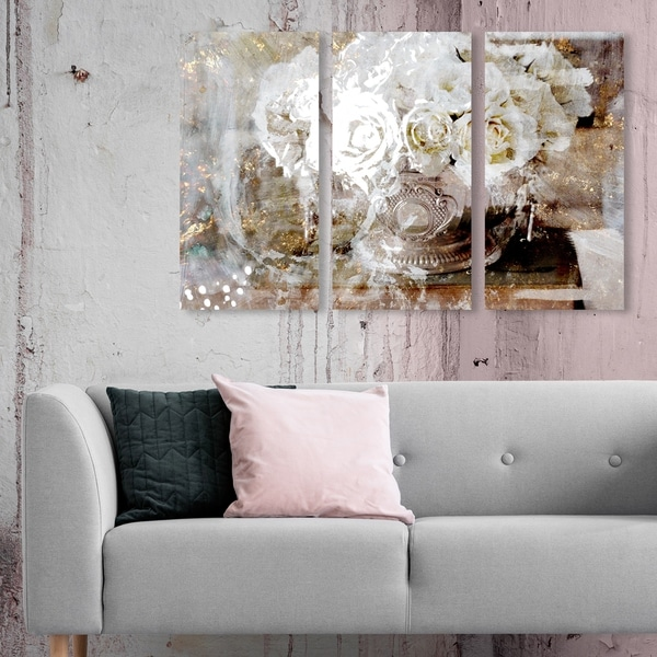 Oliver Gal 'Serving Roses Triptych' Floral and Botanical Wall Art Canvas Print Set - Gold, White - 17 x 36 x 3 Panels