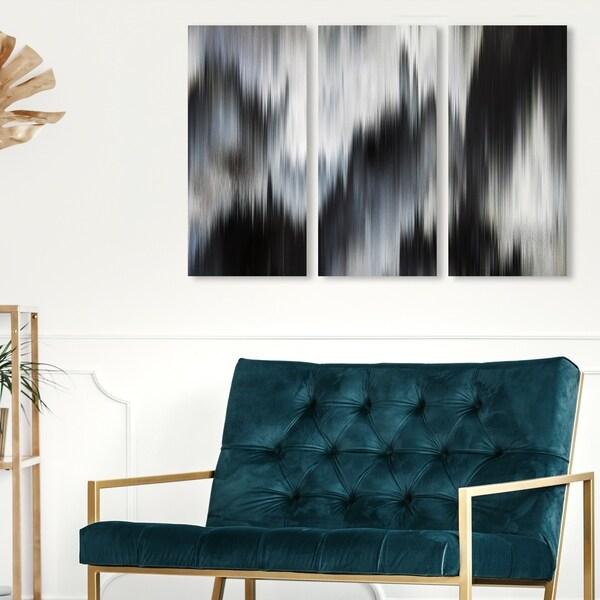Oliver Gal 'Eleganza Noir Triptych' Abstract Wall Art Canvas Print Set - Black, White - 17 x 36 x 3 Panels