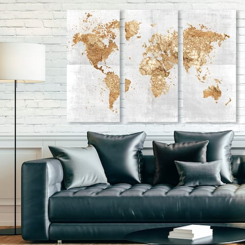 Oliver Gal 'Mapamundi on the Rocks Triptych' Maps and Flags Wall Art Canvas Print Set - Gold, White - 17 x 36 x 3 Panels