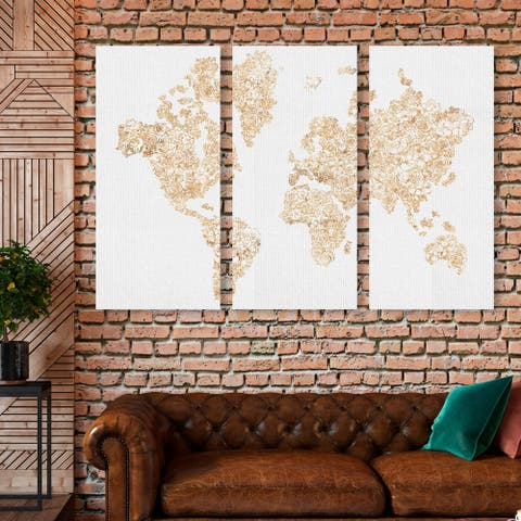 Oliver Gal 'Mapamundi Gold Floral Triptych' Maps and Flags Wall Art Canvas Print Set - Gold, White - 17 x 36 x 3 Panels