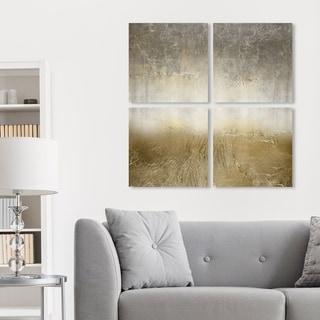 Oliver Gal 'Magari Quadratic' Abstract Wall Art Canvas Print Set - Gold, Gray - 20 x 20 x 4 Panels