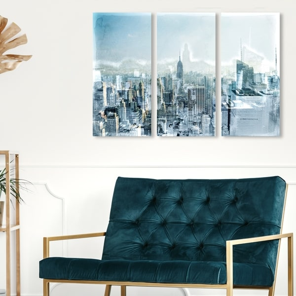 Oliver Gal 'Mornings in the City Triptych' Cities and Skylines Wall Art Canvas Print Set - Gray, White - 17 x 36 x 3 Panels