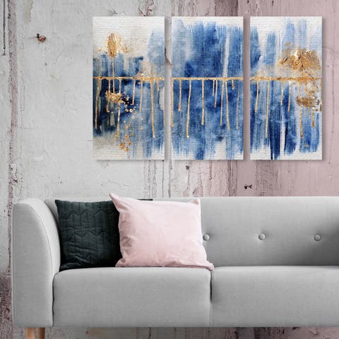 Oliver Gal 'Path to You Gold Triptych' Abstract Wall Art Canvas Print Set - Blue, Gold - 17 x 36 x 3 Panels