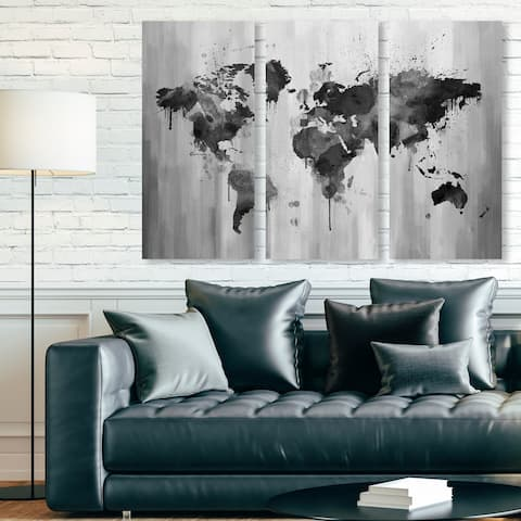 Oliver Gal 'Mapamundi Black and white Triptych' Maps and Flags Wall Art Canvas Print Set - Gray, White - 17 x 36 x 3 Panels
