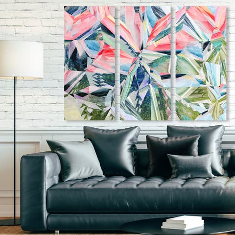 Oliver Gal 'Right Choice Triptych' Abstract Wall Art Canvas Print Set - Green, Pink