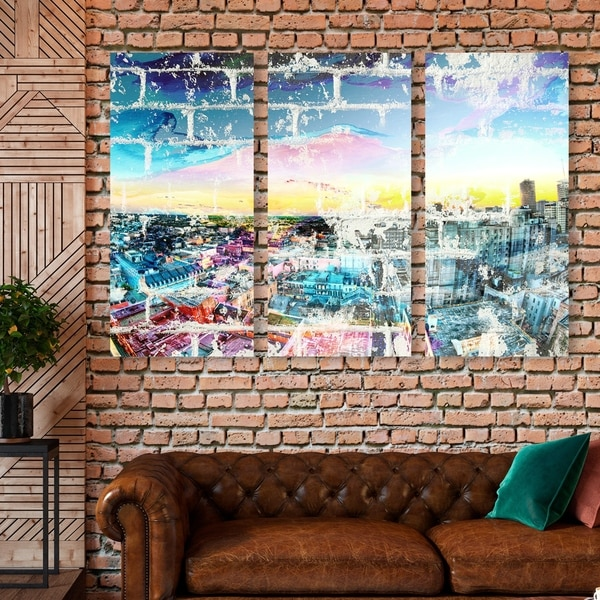 Oliver Gal 'City in the Bright Triptych' Cities and Skylines Wall Art Canvas Print Set - Blue, Yellow - 17 x 36 x 3 Panels