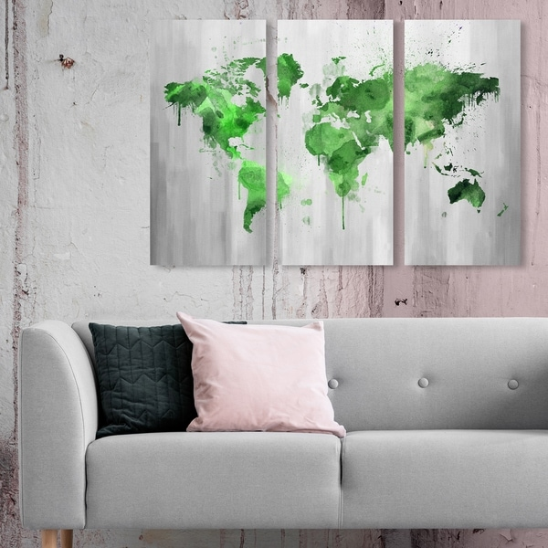 Oliver Gal 'Mapamundi Green Triptych' Maps and Flags Wall Art Canvas Print Set - Green, Gray - 17 x 36 x 3 Panels