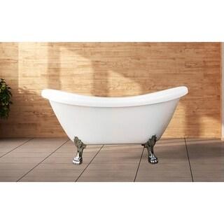 """Daphne 59"""" Clawfoot tub White W/ Chrome Feet"""