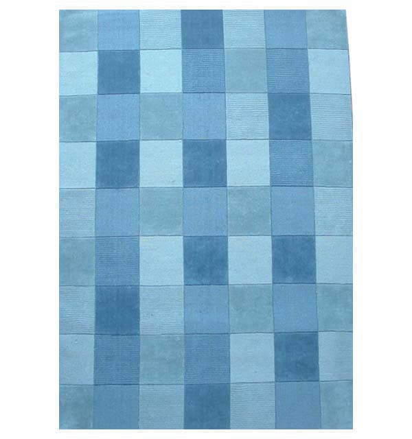 Hand-tufted Blue Tile Wool Rug - 8' x 10'6