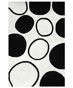 Hand-tufted Black Circle Wool Rug (5' x 8') - Thumbnail 0