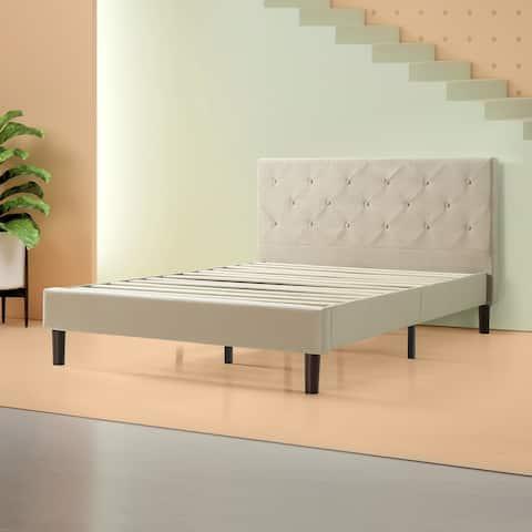 Priage by ZINUS Beige Upholstered Diamond Stitched Platform Bed Frame