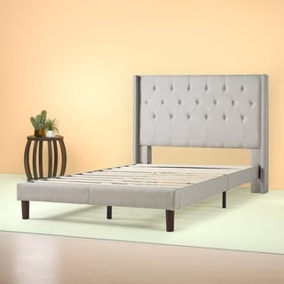 Priage by Zinus - Light Grey Upholstered Wingback Platform Bed