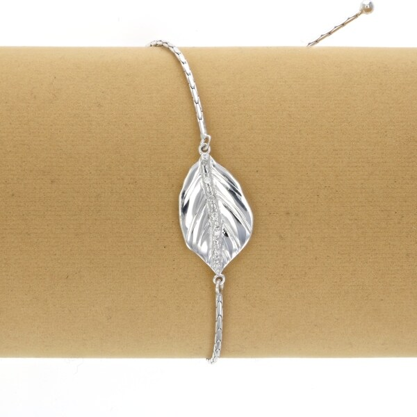 1//20 CT Diamond Bolo Bracelet Rose Gold Plated Over .925 Sterling Silver Leaf