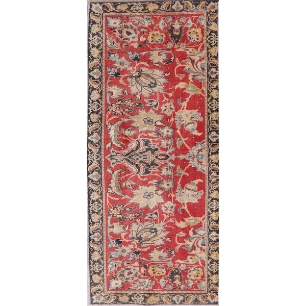 "Vintage Oriental Hand Knotted Low Pile Tabriz Persian Wool Area Rug - 2'10"" X 6'5"""