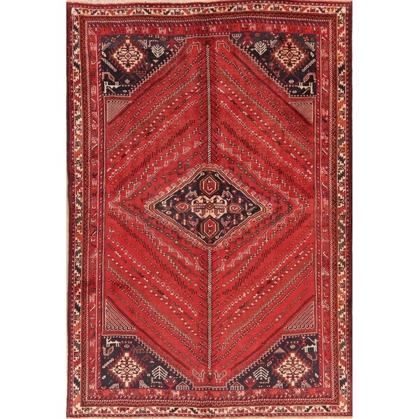 "Vintage Tribal Oriental Hand Knotted Carpet Kashkoli Persian Area Rug - 9'7"" X 6'7"""