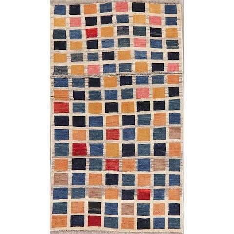 "Handmade Wool Geometric Block Design Persian Gabbeh Shiraz Area Rug - 5'4"" X 3'2"""