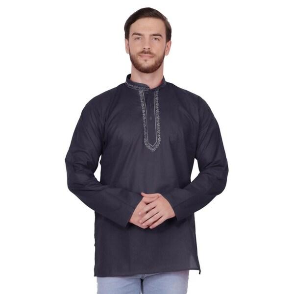 Handmade Mens Embroidered Cotton Hip Length Kurta Tunic Shirt