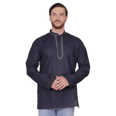 Handmade Men's Embroidered Cotton Hip Length Kurta Tunic Shirt