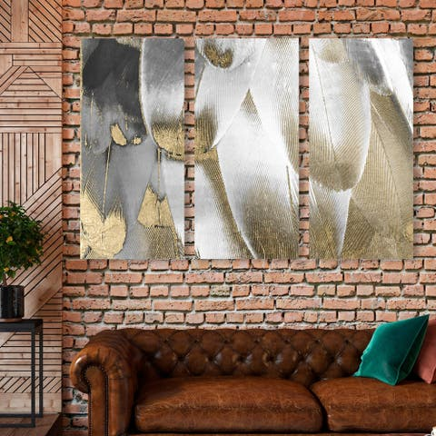 Oliver Gal 'Royal Feathers Triptych' Abstract Wall Art Canvas Print Set - White, Gold