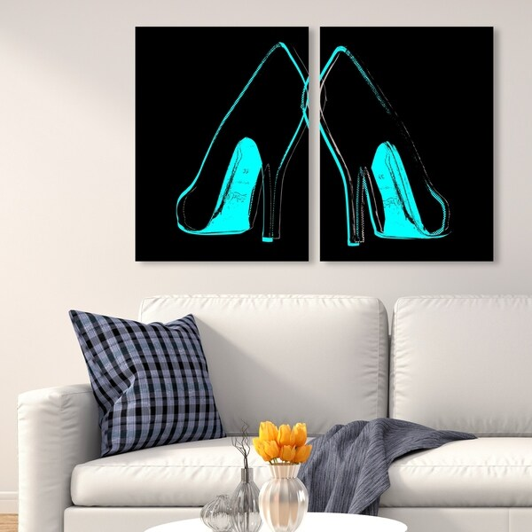Oliver Gal 'Fire in Your New Shoes Split' Fashion and Glam Wall Art Canvas Print Diptych Set - Gray, Red - 22 x 30 x 2 Panels