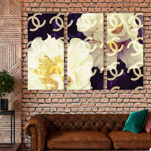 Oliver Gal 'Coco's Camellia Vanilla triptych' Fashion and Glam Wall Art Canvas Print Set - White, Yellow - 17 x 36 x 3 Panels