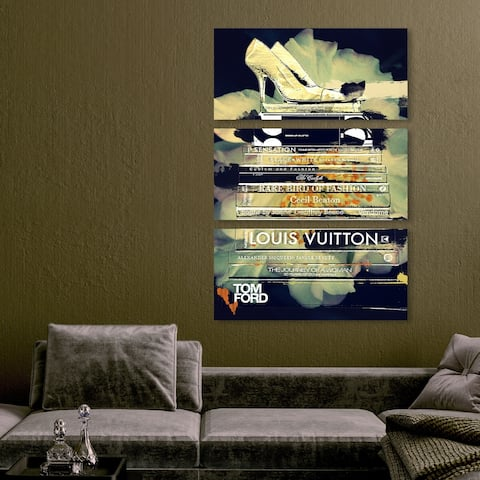 Oliver Gal 'Clear Thoughts triptych' Fashion and Glam Wall Art Canvas Print Set - Black, Green - 36 x 17 x 3 Panels