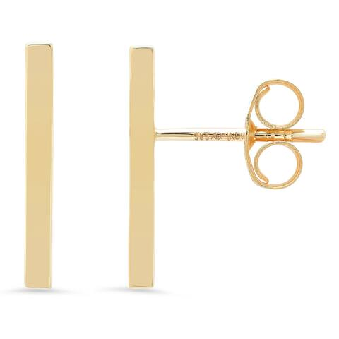 14k Yellow Gold Bar Stud Earring