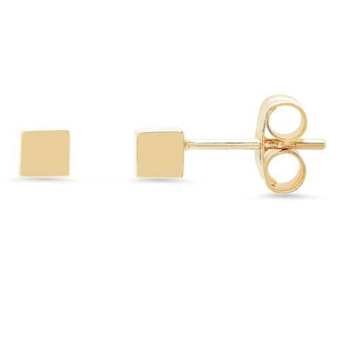 14k Yellow Gold Cube Stud Earring