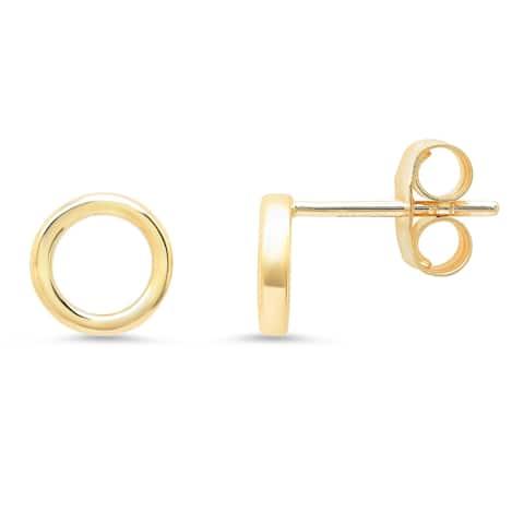 14k Yellow Gold Circle Stud Earring