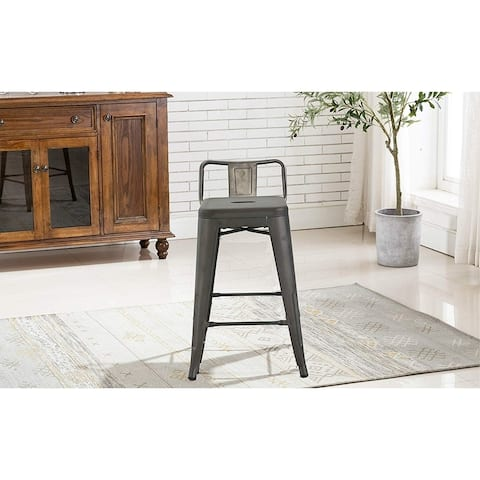 Industrial 24 inch Rustic Distressed Kitchen Chic Indoor Outdoor Low Back Metal Counter Height Stool Set of 4 Bar stools