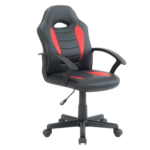 BTEXPERT Kid's Gaming and Student Racer Computer Chair with Lumbar Support Wheels, Black Red - N/A