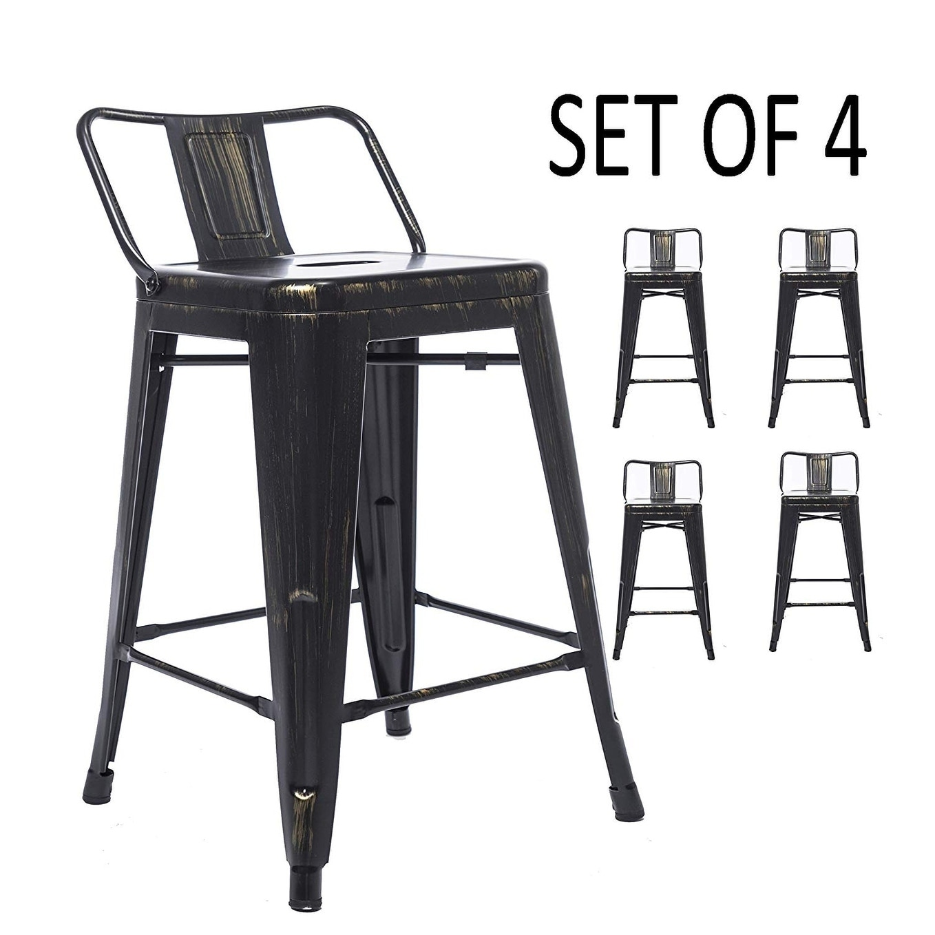24 Inch Golden Black Distressed Kitchen Chic Indoor Outdoor Low Back Metal Counter Height Stool Set Of 4 Bar Stools