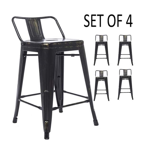Low Back Metal Counter Height Stool Set