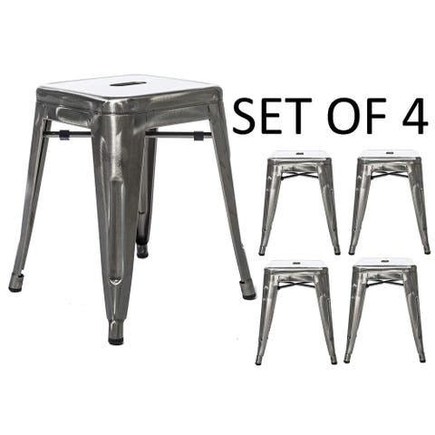 18 inches Stackable Industrial Distressed Rustic Backless Kitchen Chair Island Galvanized Metal Barstools Set of 4 Bar Stools